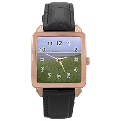 Pacific Ocean  Rose Gold Leather Watch