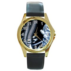 Motorcycle Details Round Gold Metal Watch