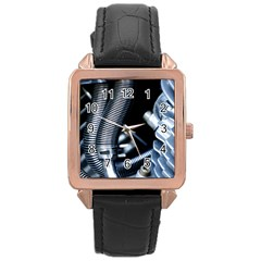 Motorcycle Details Rose Gold Leather Watch