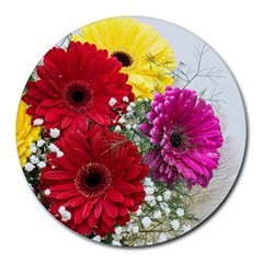 Flowers Gerbera Floral Spring Round Mousepads