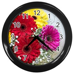 Flowers Gerbera Floral Spring Wall Clocks (black)