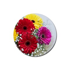Flowers Gerbera Floral Spring Rubber Coaster (round)