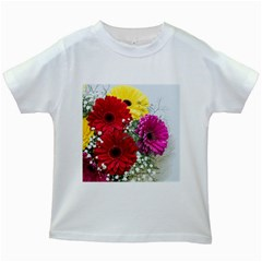 Flowers Gerbera Floral Spring Kids White T-Shirts