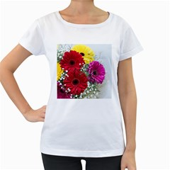 Flowers Gerbera Floral Spring Women s Loose-Fit T-Shirt (White)