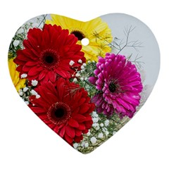 Flowers Gerbera Floral Spring Heart Ornament (Two Sides)