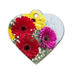 Flowers Gerbera Floral Spring Dog Tag Heart (one Side)