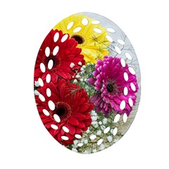 Flowers Gerbera Floral Spring Oval Filigree Ornament (Two Sides)