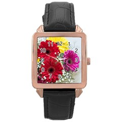 Flowers Gerbera Floral Spring Rose Gold Leather Watch