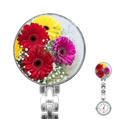 Flowers Gerbera Floral Spring Stainless Steel Nurses Watch