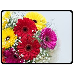 Flowers Gerbera Floral Spring Double Sided Fleece Blanket (Large)