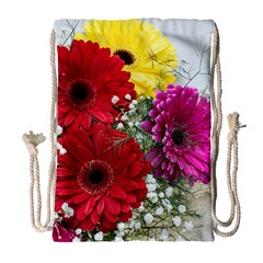 Flowers Gerbera Floral Spring Drawstring Bag (large)