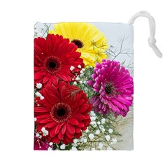 Flowers Gerbera Floral Spring Drawstring Pouches (Extra Large)