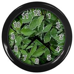 Texture Leaves Light Sun Green Wall Clocks (Black)