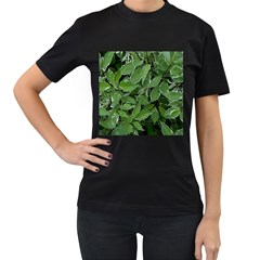 Texture Leaves Light Sun Green Women s T-Shirt (Black) (Two Sided)