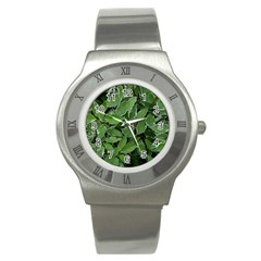 Texture Leaves Light Sun Green Stainless Steel Watch