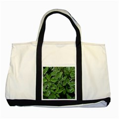 Texture Leaves Light Sun Green Two Tone Tote Bag