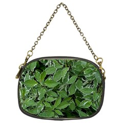 Texture Leaves Light Sun Green Chain Purses (two Sides)