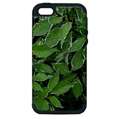 Texture Leaves Light Sun Green Apple iPhone 5 Hardshell Case (PC+Silicone)