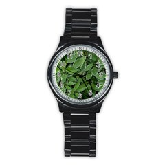 Texture Leaves Light Sun Green Stainless Steel Round Watch