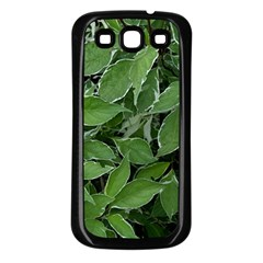 Texture Leaves Light Sun Green Samsung Galaxy S3 Back Case (Black)