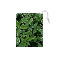 Texture Leaves Light Sun Green Drawstring Pouches (small)