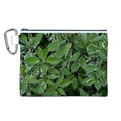 Texture Leaves Light Sun Green Canvas Cosmetic Bag (L)