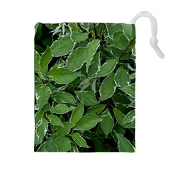 Texture Leaves Light Sun Green Drawstring Pouches (extra Large)