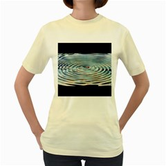 Wave Concentric Waves Circles Water Women s Yellow T Shirt