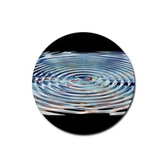 Wave Concentric Waves Circles Water Rubber Round Coaster (4 pack)
