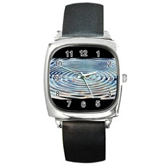 Wave Concentric Waves Circles Water Square Metal Watch