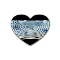 Wave Concentric Waves Circles Water Rubber Coaster (Heart)