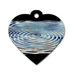 Wave Concentric Waves Circles Water Dog Tag Heart (one Side)