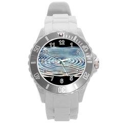 Wave Concentric Waves Circles Water Round Plastic Sport Watch (l)