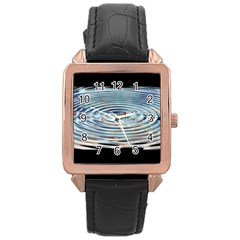 Wave Concentric Waves Circles Water Rose Gold Leather Watch