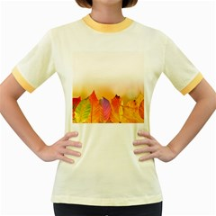 Autumn Leaves Colorful Fall Foliage Women s Fitted Ringer T Shirts
