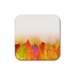 Autumn Leaves Colorful Fall Foliage Rubber Square Coaster (4 pack)