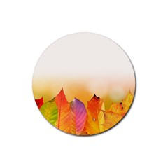 Autumn Leaves Colorful Fall Foliage Rubber Round Coaster (4 pack)