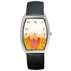 Autumn Leaves Colorful Fall Foliage Barrel Style Metal Watch