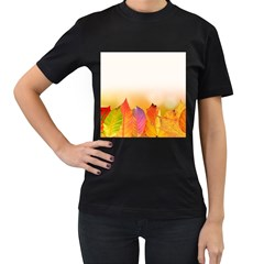 Autumn Leaves Colorful Fall Foliage Women s T-Shirt (Black) (Two Sided)
