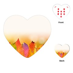 Autumn Leaves Colorful Fall Foliage Playing Cards (heart)
