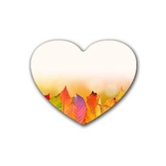 Autumn Leaves Colorful Fall Foliage Heart Coaster (4 Pack)