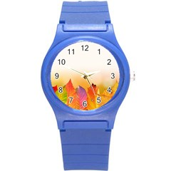 Autumn Leaves Colorful Fall Foliage Round Plastic Sport Watch (S)