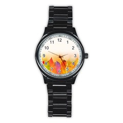 Autumn Leaves Colorful Fall Foliage Stainless Steel Round Watch