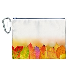 Autumn Leaves Colorful Fall Foliage Canvas Cosmetic Bag (l)