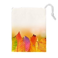 Autumn Leaves Colorful Fall Foliage Drawstring Pouches (Extra Large)