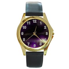 The Northern Lights Nature Round Gold Metal Watch
