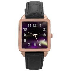 The Northern Lights Nature Rose Gold Leather Watch