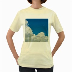 Sky Clouds Blue White Weather Air Women s Yellow T-Shirt
