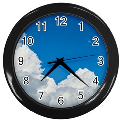 Sky Clouds Blue White Weather Air Wall Clocks (Black)