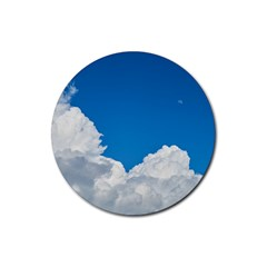 Sky Clouds Blue White Weather Air Rubber Round Coaster (4 Pack)